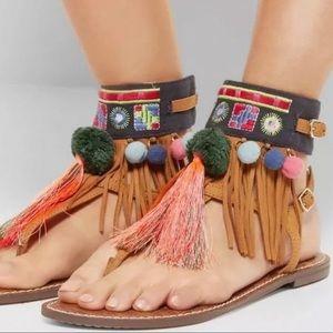 Sam Edelman Gere boho fringe sandals brown